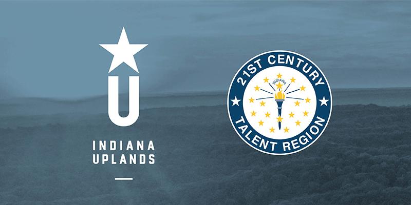 Indiana Uplands logo with 21st Century Talent Region logo